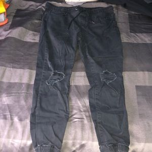 Black ripped joggers